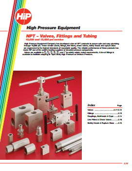 NPT – Valves, Fittings and Tubing High Pressure Equipment